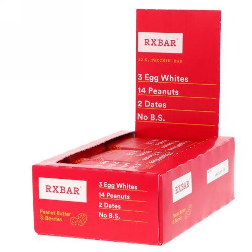 RXBAR, プロテインバー、ピーナッツバター&ベリー、12本、各1.83オンス(52 g)