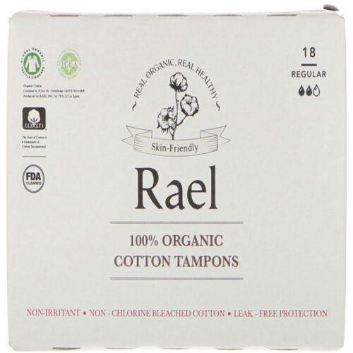 Rael, 100%オーガニックコットンタンポン、レギュラー、18タンポン (Discontinued Item)