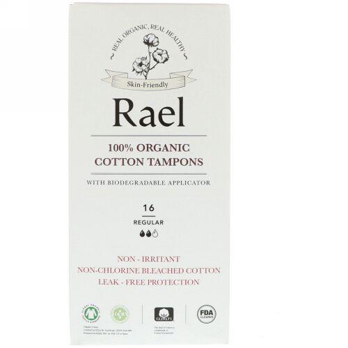 Rael, 100% Organic Cotton Tampons with Biodegradable Applicator, Regular, 16 Tampons (Discontinued Item)
