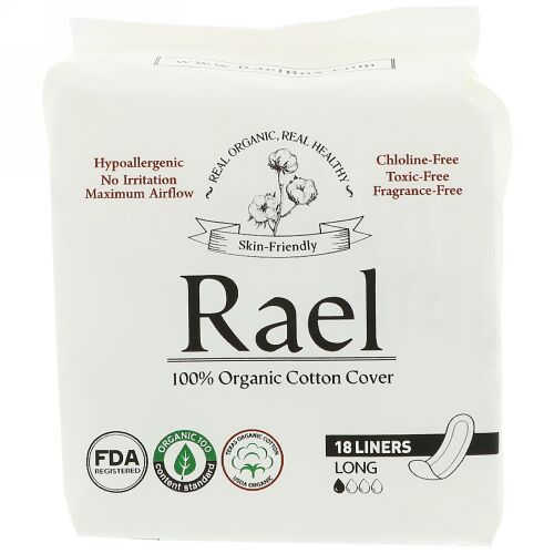 Rael, オーガニックパンティーライナー、ロング、18枚 (Discontinued Item)