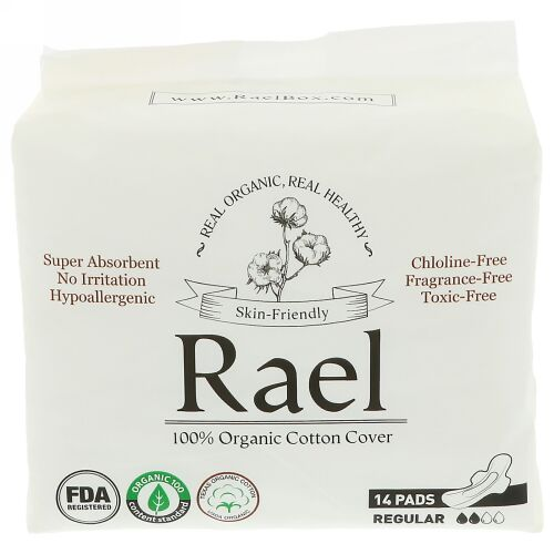 Rael, オーガニック超薄型パッド、普通用、14枚 (Discontinued Item)