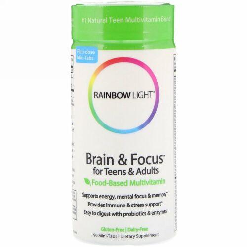Rainbow Light, Brain & Focus(ブレイン・フォーカス)中学生から大人向け、食品ベースのマルチビタミン、ミニタブレット90粒