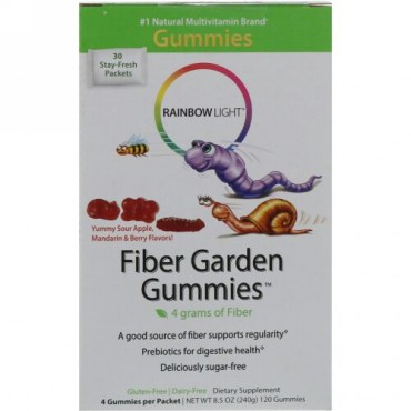 Rainbow Light, ファイバーガーデングミ(Fiber Garden Gummies), 酸っぱいベリー, リンゴ&ミカン風味, 30パケット, 各4グミ(8 g)