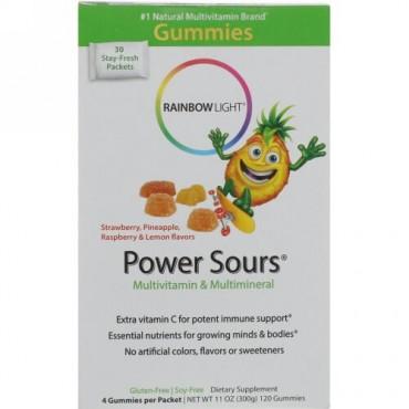 Rainbow Light, Gummy Power Sours、マルチビタミン &マルチミネラル、イチゴ、パイナップル、ラズベリー&レモン味、30 パック、各4個入り