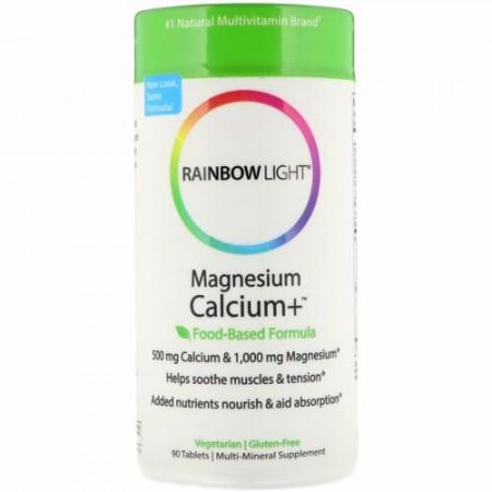 Rainbow Light, マグネシウム カルシウム+、 食品ベース処方、 90錠