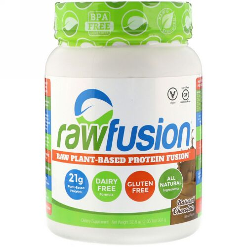 RawFusion, Raw Plant-Based Protein Fusion, Natural Chocolate, 2.05 lbs (931 g) (Discontinued Item)