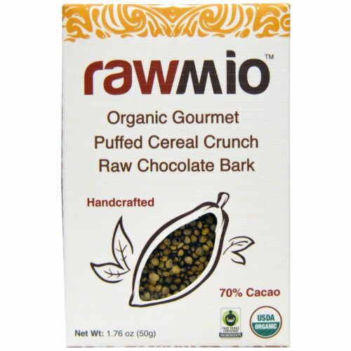 Rawmio, オーガニックグルメパフシリアルクランチ ローチョコレートバーク、 1.76 oz (50 g) (Discontinued Item)