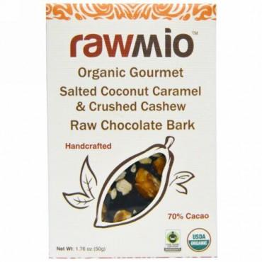 Rawmio, オーガニックグルメソルテッドココナッツキャラメル & クラッシュカシューナッツ ローチョコレートバーク、 1.76 oz (50 g) (Discontinued Item)
