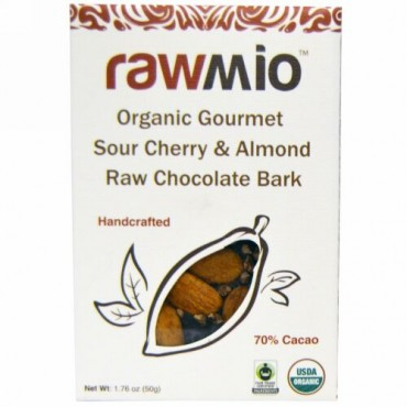 Rawmio, オーガニック グルメ サワーチェリー・アーモンド ロー チョコレート バーク、1.76 oz (50 g) (Discontinued Item)