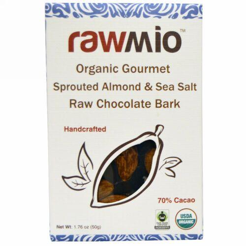 Rawmio, オーガニックグルメスプラウトアーモンド & シーソルト ローチョコレートバーク、 1.76 oz (50 g) (Discontinued Item)