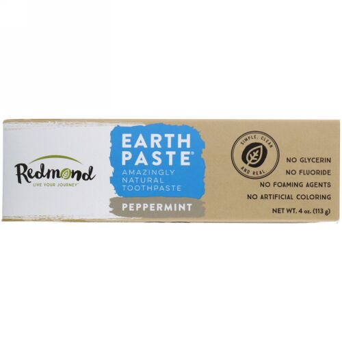Redmond Trading Company, アースペースト、驚きの自然歯磨き粉、 ペパーミント、 4オンス (113 g) (Discontinued Item)