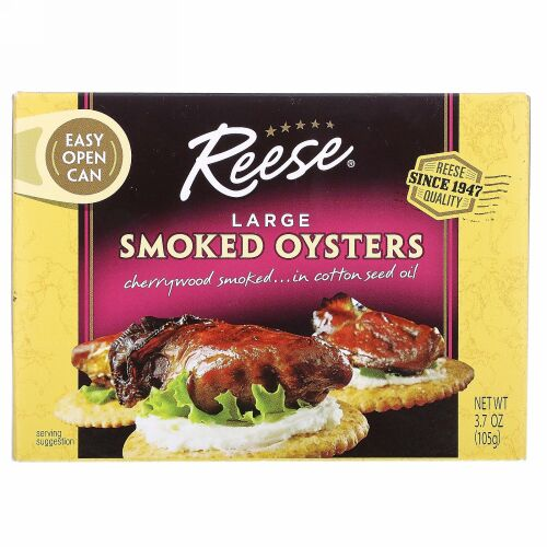 Reese, Large Smoked Oysters, 3.70 oz (105 g)