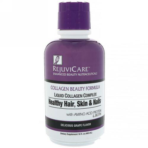 Rejuvicare, Collagen Beauty Formula, Liquid Collagen Complex, Healthy Hair, Skin & Nails, Grape, 16 fl oz (480 ml)