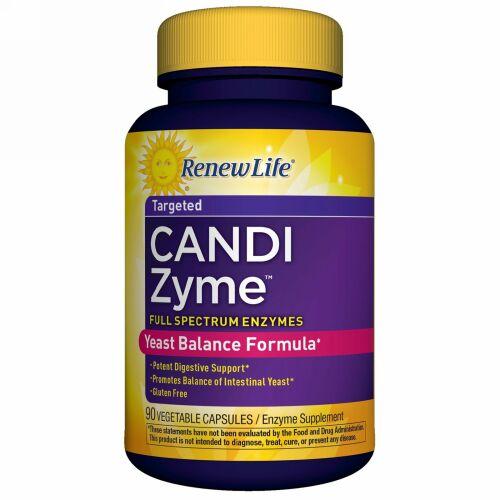 Renew Life, CandiZyme(カンジザイム)、的を絞った働き、ベジタリアンカプセル90錠 (Discontinued Item)