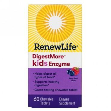 Renew Life, DigestMore Kids Enzyme, Berry Blast Flavor, 60 Chewable Tablets