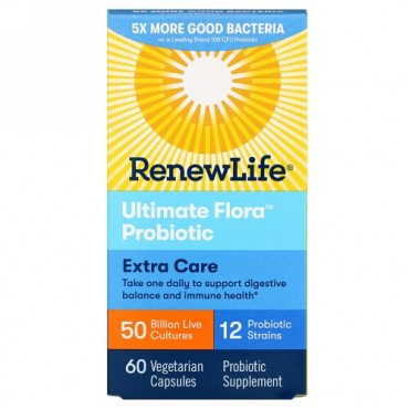 Renew Life, エキストラケア、Ultimate Flora(アルティメットフローラ)プロバイオティクス、500億の生きた培養菌、ベジカプセル60粒