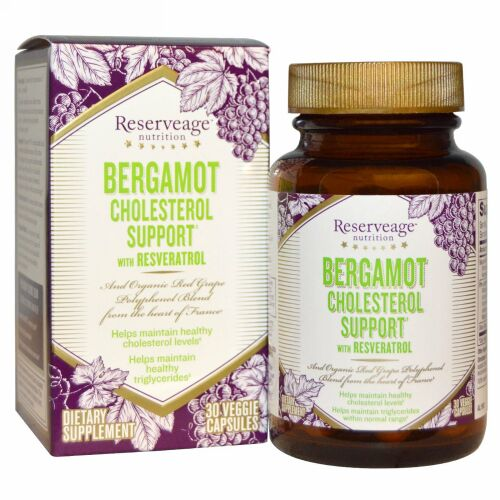 ReserveAge Nutrition, Bergamot Cholesterol Support with Resveratrol, 30 Veggie Capsules (Discontinued Item)