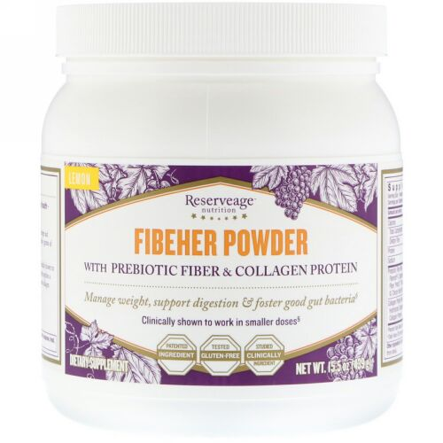 ReserveAge Nutrition, Fibeher Powder with Prebiotic Fiber & Collagen Protein, Lemon, 15.5 oz 439 g (Discontinued Item)