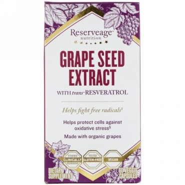 ReserveAge Nutrition, Grape Seed Extract with Trans-Resveratrol, 60 Veggie Capsules (Discontinued Item)