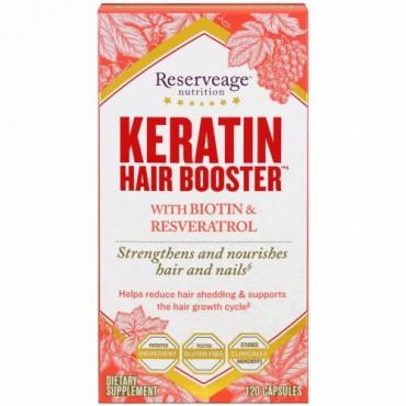 ReserveAge Nutrition, ビオチン&レスベラトロール配合ケラチンヘアブースター、120カプセル