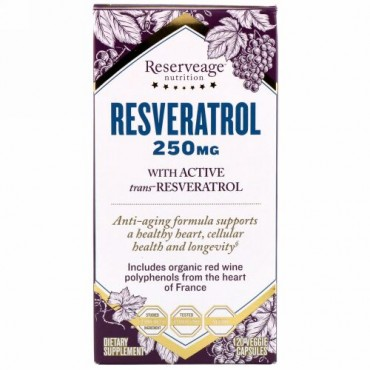 ReserveAge Nutrition, Resveratrol with Active Trans-Resveratrol, 250 mg, 120 Veggie Capsules