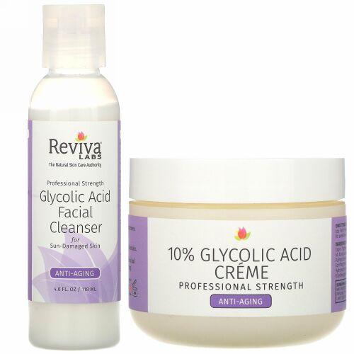 Reviva Labs, 10%グリコール酸クリーム & グリコール酸フェイシャルクレンザー、2個セット