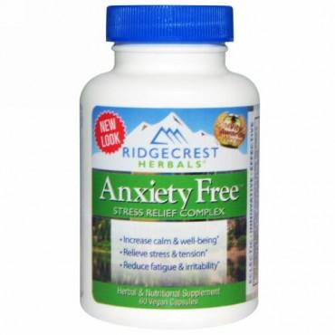 RidgeCrest Herbals, アンギザイエティフリー(Anxiety Free)、ストレス緩和複合剤、ビーガンカプセル 60 錠