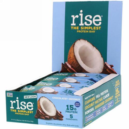 Rise Bar, THE SIMPLEST PROTEIN BAR, Chocolatey Coconut, 12 Bars, 2.1 oz (60 g) Each