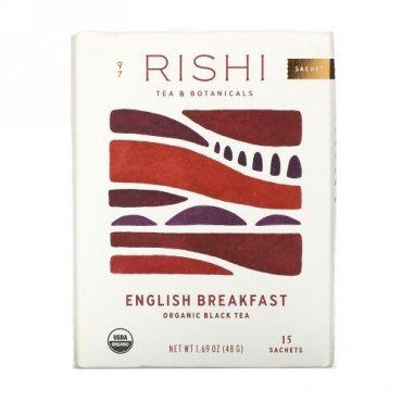 Rishi Tea, Organic Black Tea, English Breakfast, 15 Tea Bags 1.69 oz (48 g)