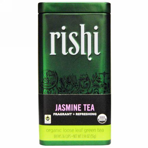Rishi Tea, オーガニック グリーンティー, ルーズリーフ, ジャスミン, 1.94 オンス (55 g)