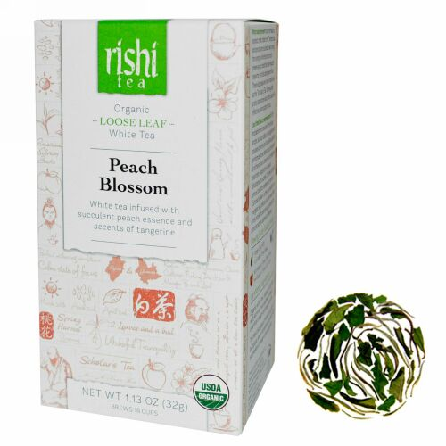 Rishi Tea, オーガニック ルーズリーフ ホワイトティー, ピーチブロッサム, 1.13 オンス (32 g) (Discontinued Item)