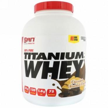 SAN Nutrition, 100%ピュアチタニウムホエイ、チョコレートグラハムクラッカー、5ポンド (2268 g) (Discontinued Item)
