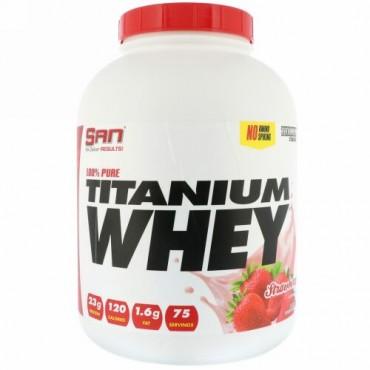 SAN Nutrition, 100%ピュアチタンホエイ、ストロベリー風味、2273g(5 lb) (Discontinued Item)