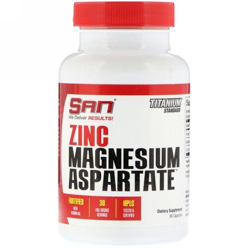 SAN Nutrition, 亜鉛・マグネシウム・アスパラギン酸、カプセル90錠 (Discontinued Item)