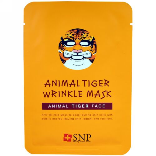 SNP, Animal Tiger Wrinkle Mask, 10 Sheets x (25 ml) Each (Discontinued Item)
