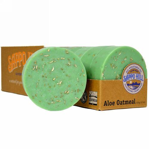 Sappo Hill, グリセリンクリーム石鹸、アロエオートミール、12個入り、1個あたり3.5 oz (100 g)