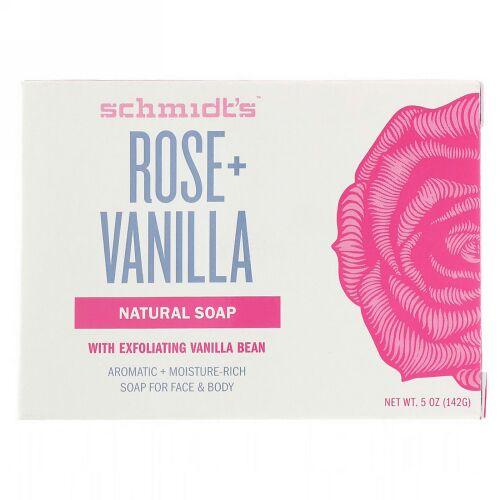 Schmidt's, Natural Soap, Rose + Vanilla, 5 oz (142 g) (Discontinued Item)