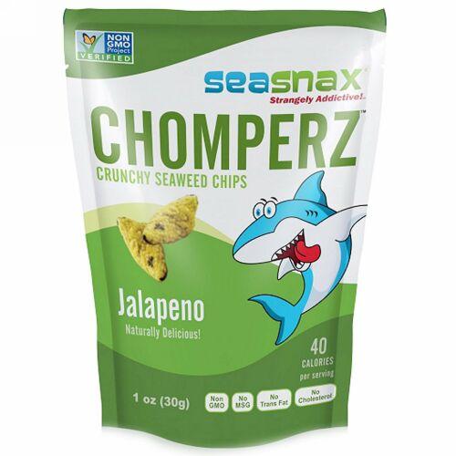 SeaSnax, Chomperz™(チョンパーズ)、カリカリ海藻チップス、ハラペーニョ、1 オンス (30 g)