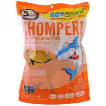 SeaSnax, チョンパーズ、クランチー海藻チップス、オニオン、5食分個別パック、各0.28オンス (8 g) (Discontinued Item)