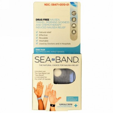 Sea Band, Acupressure Wrist Bands、1ペア (Discontinued Item)