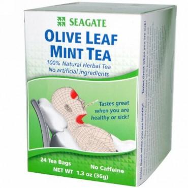 Seagate, オリーブの葉 ミント ティー、 24ティーバッグ、 1.3 oz (36 g)