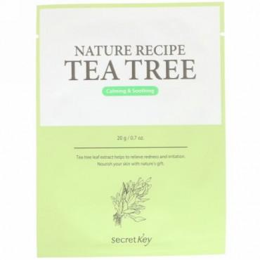 Secret Key, Nature Recipe Mask Pack, Tea Tree, 10 Sheets, 0.7 oz (20 g) Each (Discontinued Item)