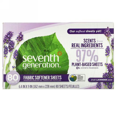 Seventh Generation, Fabric Softener Sheets, Fresh Lavender, 80 Sheets