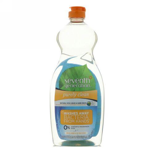 Seventh Generation, ナチュラル ディッシュ リキッド & ハンド ウォッシュ、ピュアリー クリーン、フレッシュ レモン & ティーツリー、22 fl oz (650 ml) (Discontinued Item)