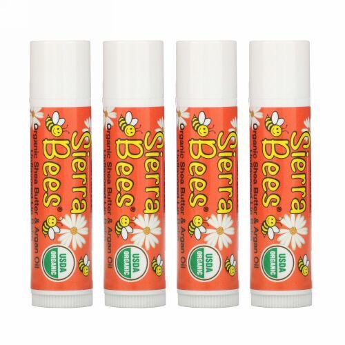 Sierra Bees, オーガニックリップバーム、シアバター、アルガンオイル、4パック、各.15 oz (4.25 g)