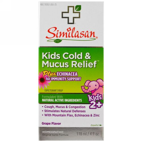 Similasan, Kids Cold & Mucus Relief, Kids 2+, Grape Flavor, 4 fl oz (118 ml)