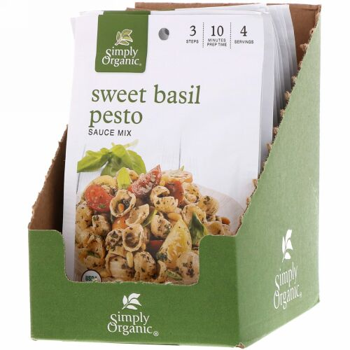 Simply Organic, スイートバジルペスト ソースミックス、 12 パケット、 各0.53 oz (15 g)