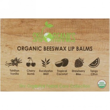 Sky Organics, Organic Beeswax Lip Balms Set, 6 Pack, .15 oz (4.25 g) Each (Discontinued Item)