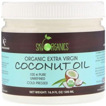Sky Organics, Organic Extra Virgin Coconut Oil, 100% Pure Unrefined, Cold Pressed, 16.9 fl oz (500 ml) (Discontinued Item)