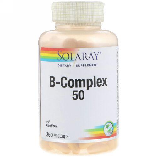 Solaray, B-コンプレックス 50、植物性カプセル250錠